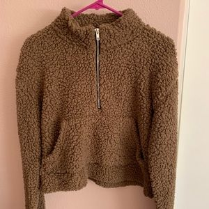 BROWN TEDDY SEMI CROPPED PULL OVER